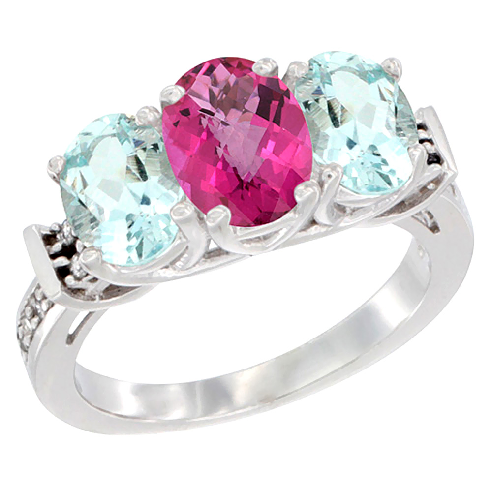 14K White Gold Natural Pink Topaz & Aquamarine Sides Ring 3-Stone Oval Diamond Accent, sizes 5 10 by WorldJewels