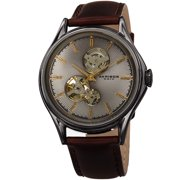 Akribos XXIV Men's Automatic Casual Watch - Grey Skeleton Guilloche Dial - Dark Brown Genuine Oily Calf Leather Strap Watch - AK1057