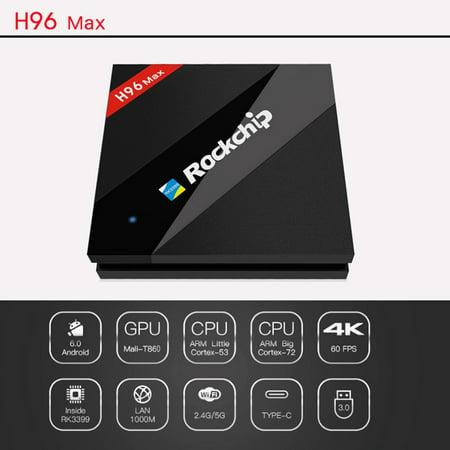 H96 Max Rockchip RK3399 HD Media Player TV Box Dual WiFi 4K*2K AU