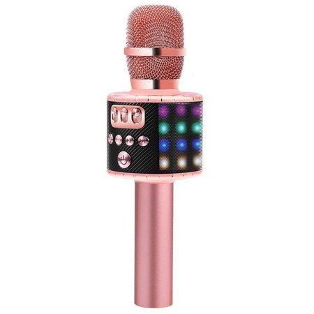 BONAOK Wireless Bluetooth Karaoke Microphone with Multi-color LED Lights, 4  in 1 Portable Handheld Karaoke Speaker Machine for