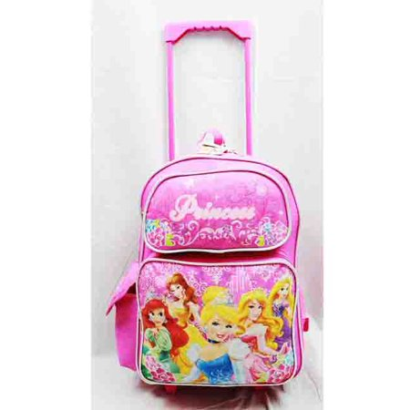 Disney Princess Bank - Large Rolling Backpack - Disney - Princess w/ Flowers Pink School Bag New a03887