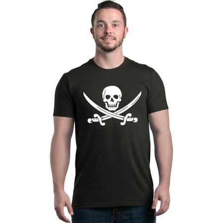Shop4Ever Men's Pirate Flag Skull Scimitars Graphic - Pirate Shirt