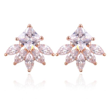 18k Rose Stud - 18K Gold Plated Princess and Marquise Cut Fancy Stud Earrings Rose Gold