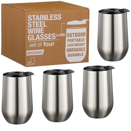 Stainless Steel Wine Glasses with Lid - Set of 4 - 17 oz Double Walled Insulated Outdoor Wine Tumblers - 100% Unbreakable & Stemless - Drinkware Set for: Wine Coffee - Lido Outdoor Wall