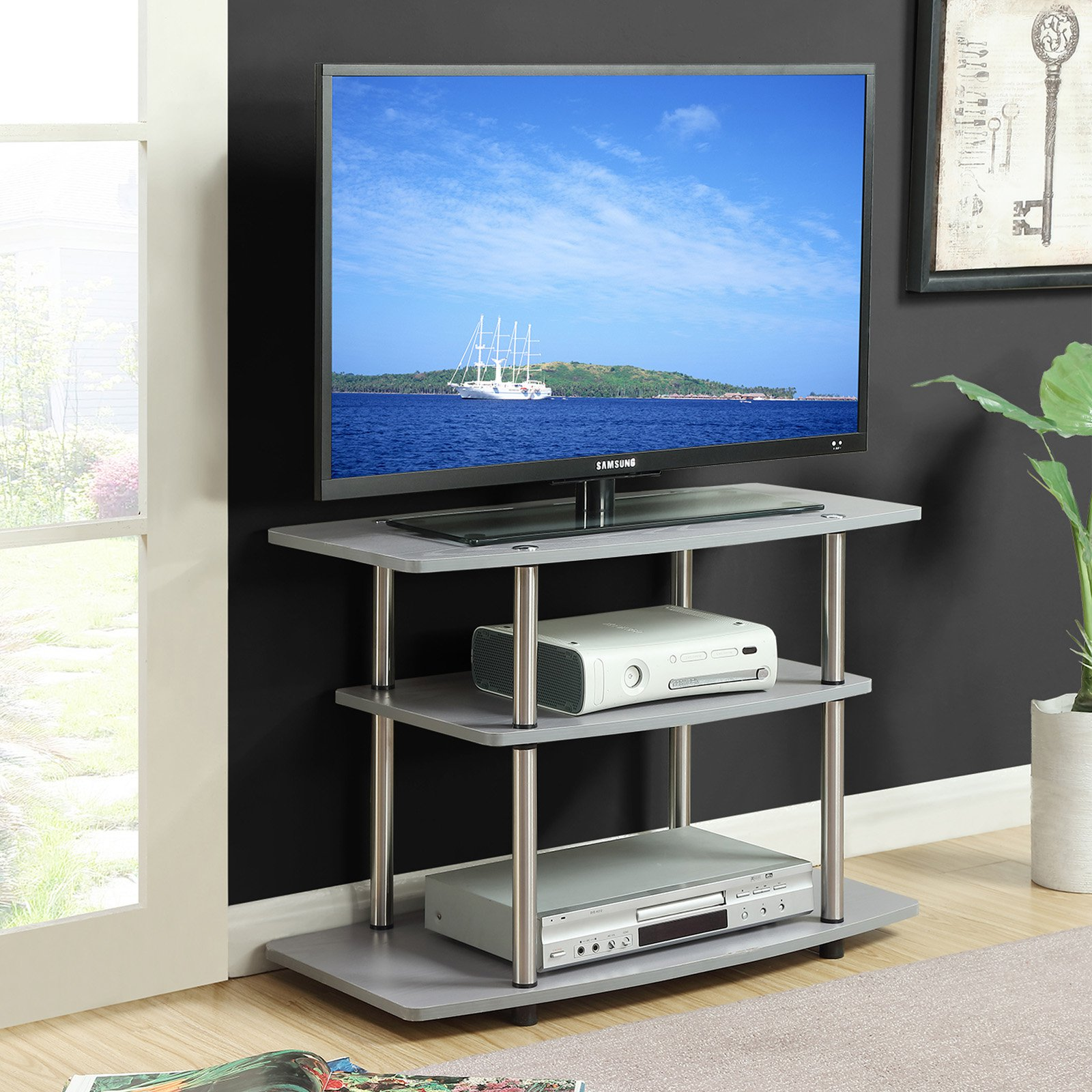 Convenience Concepts Designs2Go No Tools 3 Tier TV Stand, Multiple Colors by Convenience Concepts Inc
