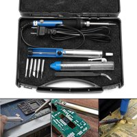 60W 110V Electric Rework Soldering Iron Kit Adjustable Temperature Welding Starter Tool with 5 Different Tips ,Desoldering Pump, Tweezers, Solder Wire +Carry Case