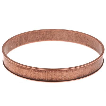 Antiqued Copper Plated Round Channel Bangle Bracelet - 2 3/4 Inch
