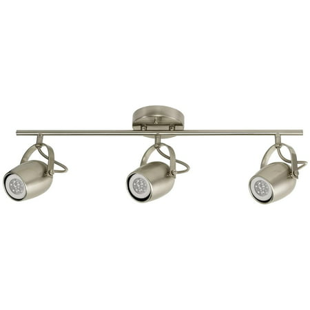 Globe Electric Samara 3-Light Brushed Nickel Track Lighting Kit, LED Bulbs Included, 58959 09 Brushed Nickel Track