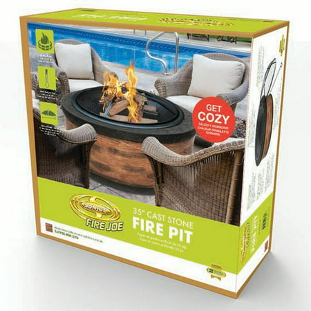 Sun Joe SJFP35-RW-STN Fire Joe 35u0022 Rustic Wood Cast Stone Fire Pit