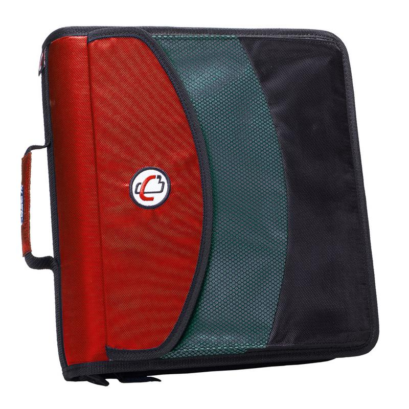 "Caseit the dual binder, (2) 1.5"" d-ring zipper binder w hold down pages, red by Case it, Inc."