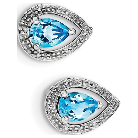 925 Sterling Silver Rhodium Plated Diamond Blue Topaz Post (10x13mm) Earrings - image 2 of 2
