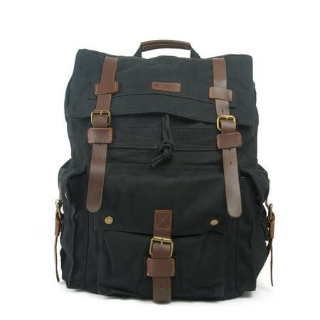 36989645a1 Kattee - Kattee Men s Leather Canvas Backpack Large School Bag Travel  Rucksack (Black) - Walmart.com