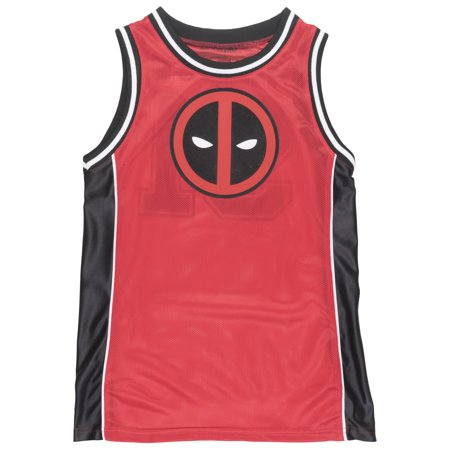 017ca1d21b0 MARVEL - Deadpool Mesh Basketball Jersey Marvel Movie Superhero Film Tee  Top Mens Red - Walmart.com