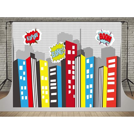 ABPHOTO Polyester 7x5ft Superhero Birthday Photo Backdrops Children Comics Cartoon Building Super City Background Photography Superman Party photo booth backdrop