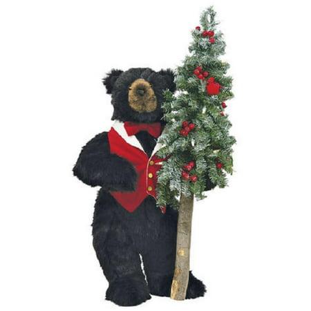 23 extra soft plush black bear holding pre lit christmas tree clear lights - Bear Christmas Tree