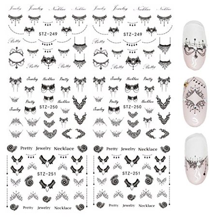 Wrapables® Black Necklaces Water Slide Nail Art Decals Water Transfer Nail Decals (6 sheets/Over 150 decals)](Black And White Halloween Nail Art)