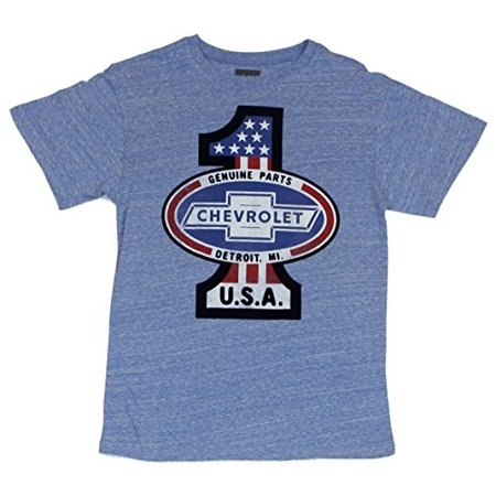 Chevrolet Mens T Shirt   Genuine Parts   34 1  34  Detroit Mi Felt Logo Flag Patch  Extra Large  Light Heather Blue