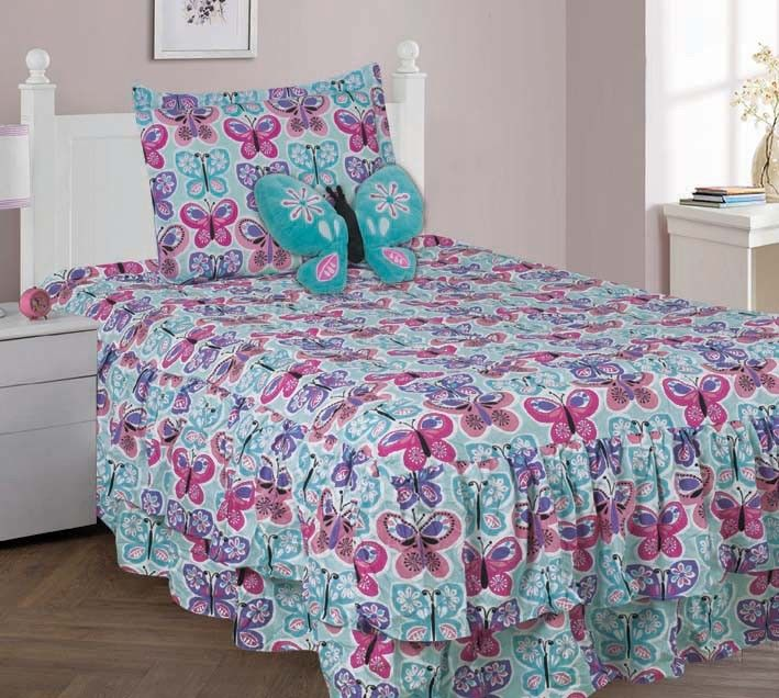 4 PIECE TWIN BUTTERFLY BLUE Double Ruffle Kids Comforter Bedding Set With Fitted SHeet and... by