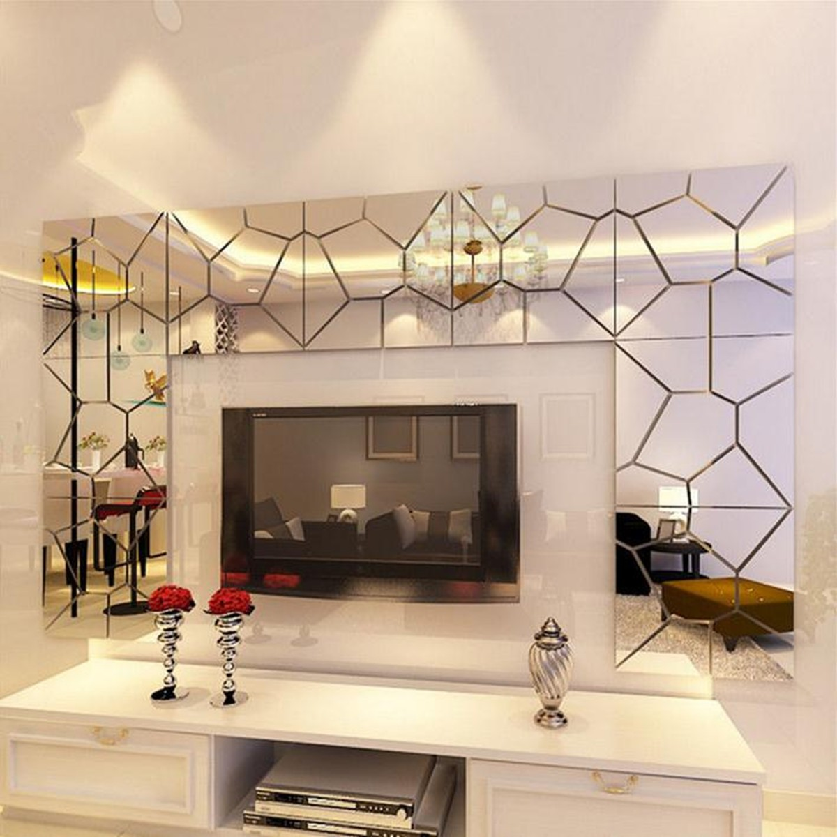 7pcs 3D Acrylic Removable Modern Mirror Decal Art Mural Wall Sticker Home Room Decor DIY
