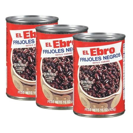 Ready to Eat El Ebro Cuban style Black Beans. 15 Oz. Frijoles Negros (Pack of 3)