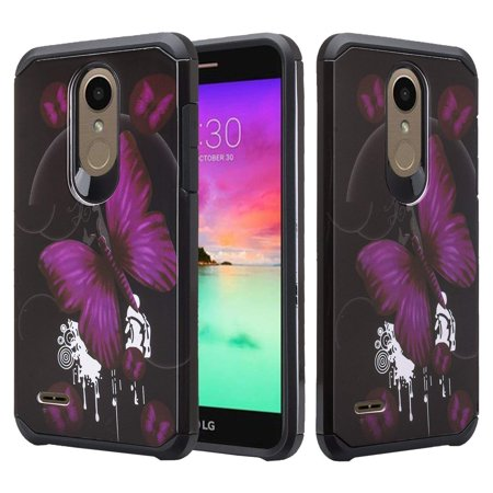 LG Stylo 4 Case, LG Q Stylus Case, SOGA Hybrid Dual Layer Astro Armor Smooth Protective Case Compatible for LG Stylo 4/LG Q Stylus Phone Cover ShockProof - Purple Butterfly ()