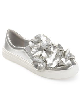 Women's Faux Leather Cascading 3D Flowers Slip-on Sneakers