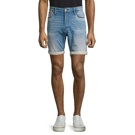 Folded Cuff Denim Shorts Belted Cuffed Shorts