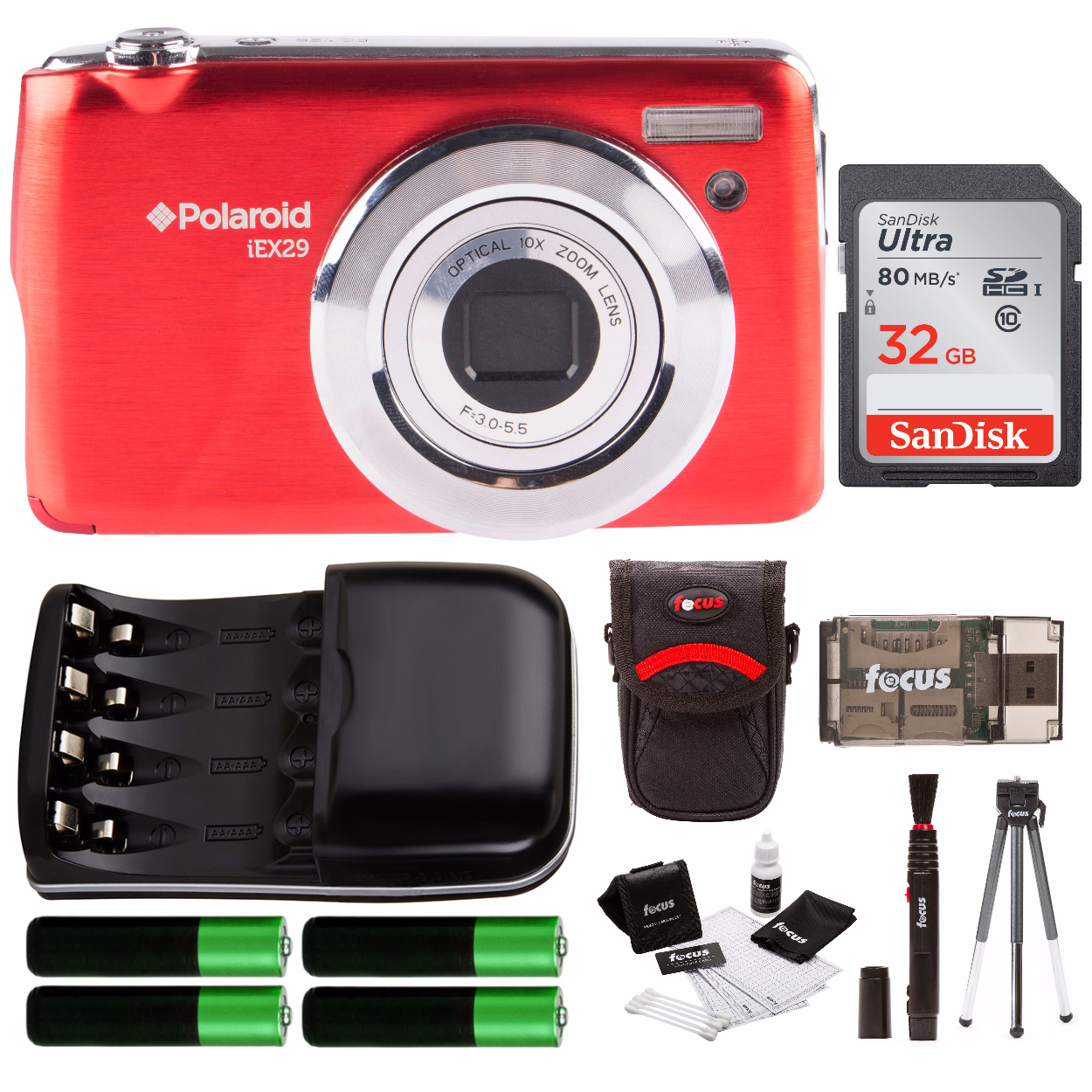 Polaroid iE X29 Digital Camera with Accessory Starter Kit Red by Sakar