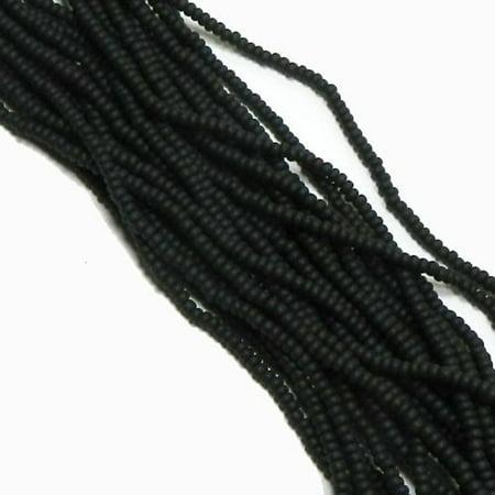 Czech 11/0 Glass Seed, Loose Beads, 1-6 String Hank Preciosa Opaque Matte Black