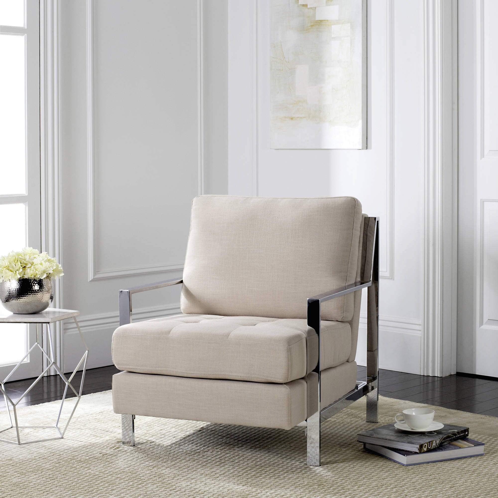 Safavieh Walden Modern Tufted Chrome Accent Chair, Multiple Colors