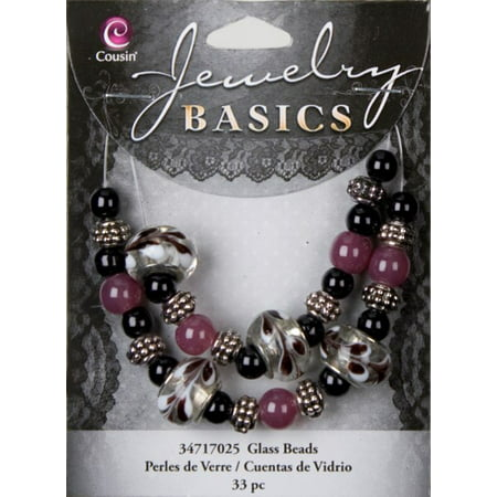 Cousin Jewelry Basics Glass Bead Mix Large Hole, 33pk Bead Mix Jewelry