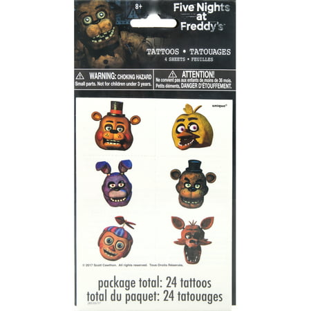 Five Nights at Freddy's Temporary Tattoos, - Little Mermaid Temporary Tattoos