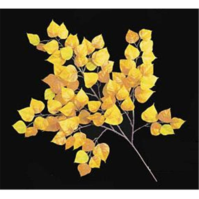 Autograph Foliages PR-0862 - 27 Inch Fire Retardant Cottonwood Branch - Gold-Yellow - Dozen