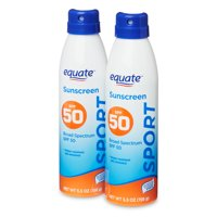 Equate Sport Broad Spectrum Sunscreen, SPF 50, Twin Pack