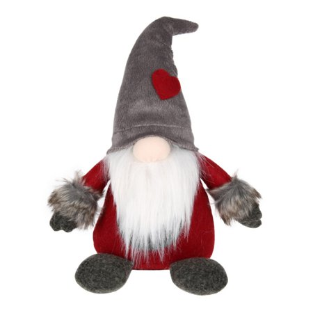 ZEDWELL Swedish Christmas Santa Claus Tomte Standing Long Hat Gnome Plush Doll Handmade Home Decor Collectible Dolls Desktop Ornament - Gray