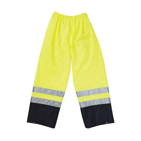 OCCUNOMIX LUX-TENR-Y4X Hi-Viz Rainwear Pant, Yellow, 4XL