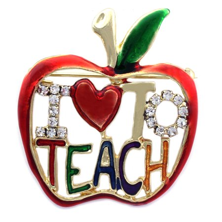 - cocojewelry I LOVE To TEACH Apple Brooch Pin Necklace Pendant Gift for Teachers