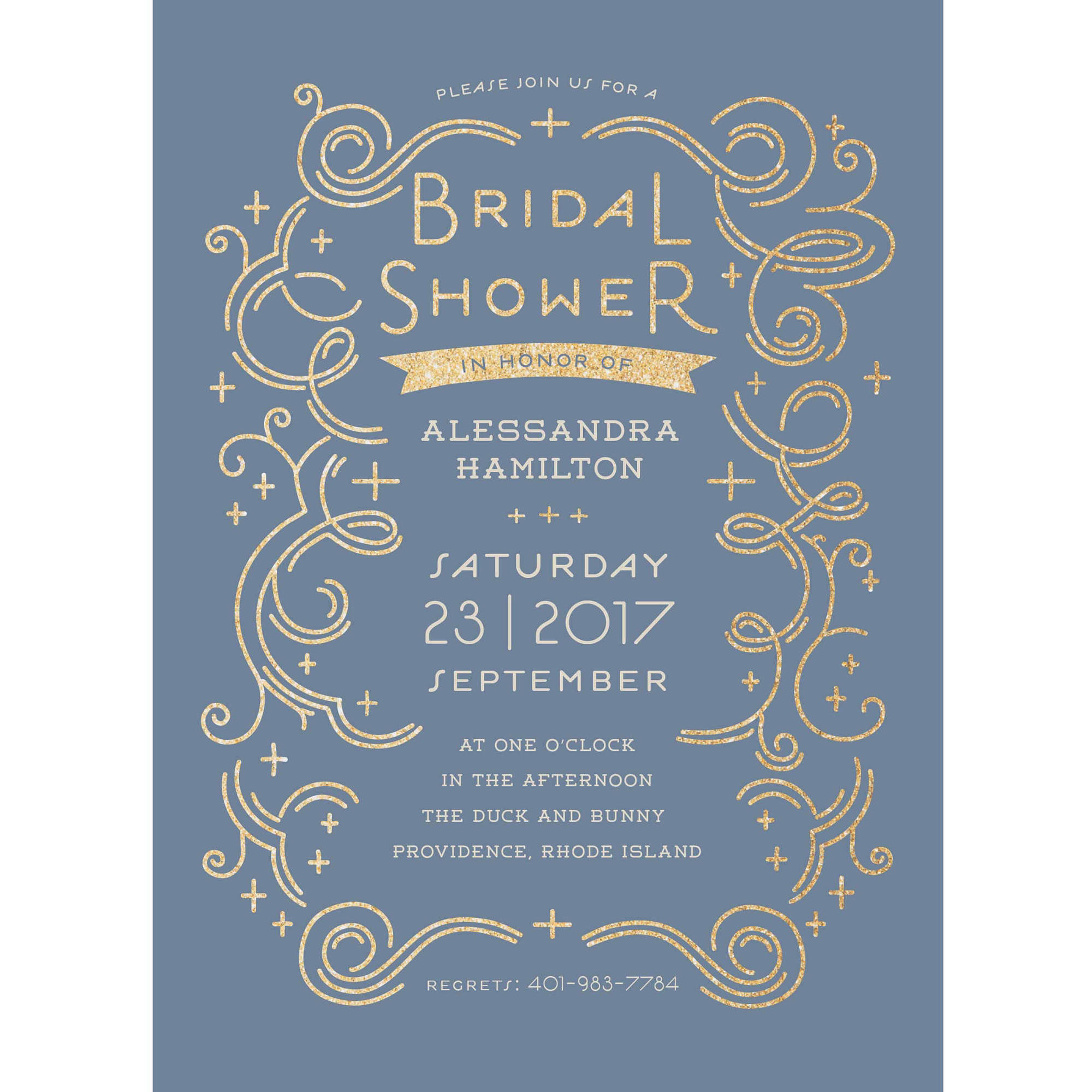 Glamorous Bride Standard Bridal Shower Invitation