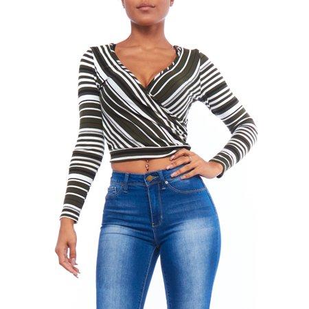 0b5d976a47ca73 Genx - Womens Long Sleeve Deep V-Neck Multi Stripe Ribbed Wrap Crop ...
