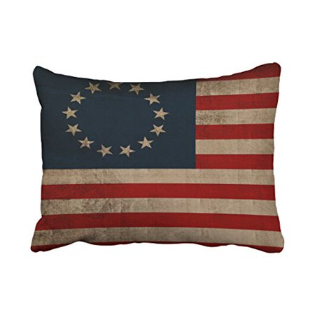 Winhome Old Traditional Vogue Vintage Look Early American Flag Polyester 20 X 30 Inch Rectangle Throw Pillow Covers With Hidden Zipper Home Sofa