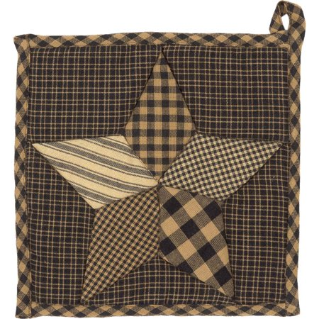 Charcoal Black Primitive Tabletop Kitchen Star And Chain Fabric Loop Cotton Patchwork Star Pot Holder