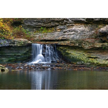 Autumn waterfall in McCormics Creek State Park, Indiana, USA Print Wall Art By Anna Miller