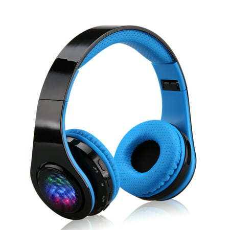 Excelvan Bluetooth Headphones Over Ear, Folding Wireless Earbuds Noise Cancelling LED Stereo Headphones Adjustable Sport Headsets for Men and Women (Blue) ()