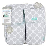 iPack Deluxe 2-Bottle Baby Bottle Cooler Bag, Gray White Green, 3-Piece Set by Bottle Coolers