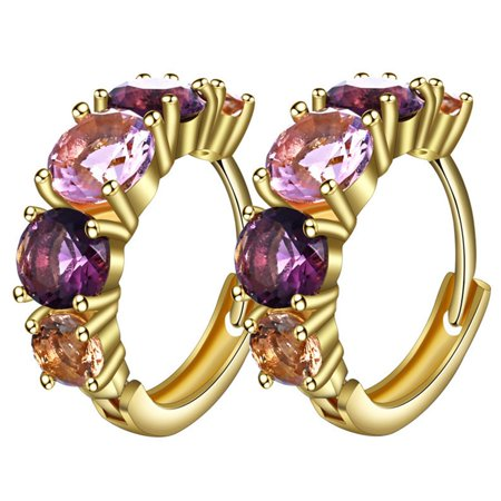 AkoaDa New Fashion Purple Crystal Gold Color Hoop Earrings Female Round Circle Charming Crystal Earrings For Women Jewelry Charming Purple Crystal
