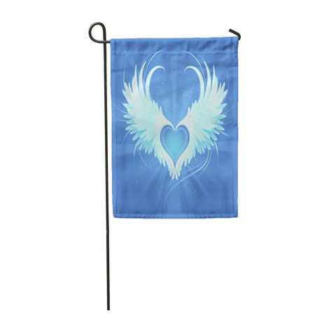KDAGR Spiritual Blue Heart of Angel Beautiful White Wings Garden Flag Decorative Flag House Banner 12x18 inch