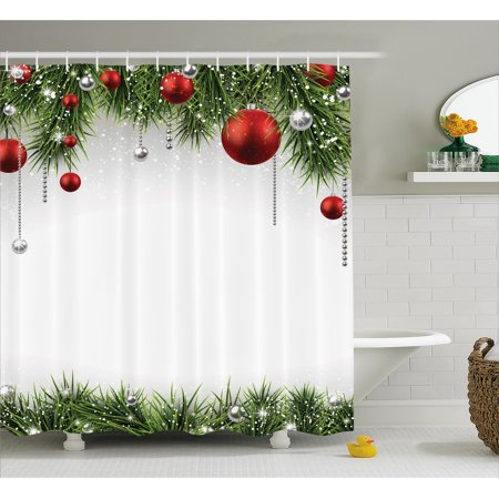 christmas shower curtain classical christmas ornaments and baubles coniferous pine tree twig tinsel print fabric bathroom set with hooks green red - Classical Christmas