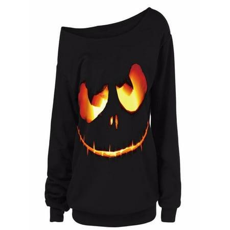 Womail Women Halloween Pumpkin Devil Sweatshirt Pullover Tops Blouse Shirt Plus Size