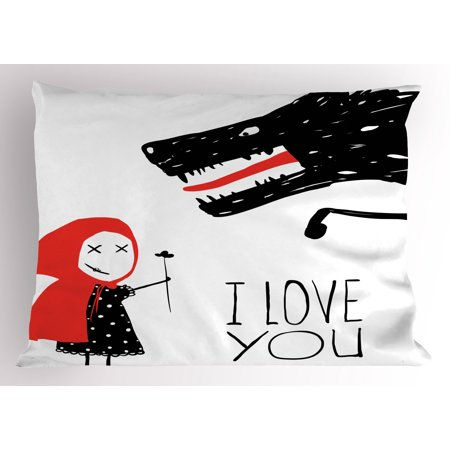 I Love You Pillow Sham Little Girl Giving Flower Bouquet to Wolf Cartoon Fairytale Characters, Decorative Standard Size Printed Pillowcase, 26 X 20 Inches, Red Charcoal Grey, by - Fairytale Girl Characters