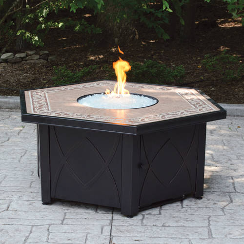 Hex LP Gas Fire Pit Bowl with Decorative Ceramic Tile Mantel